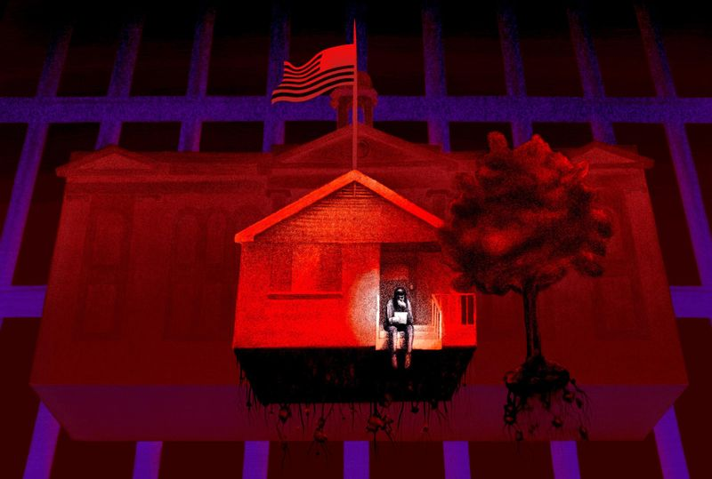 An illustration of a person sitting on the front steps of a one-story home, superimposed over an Arkansas court building.