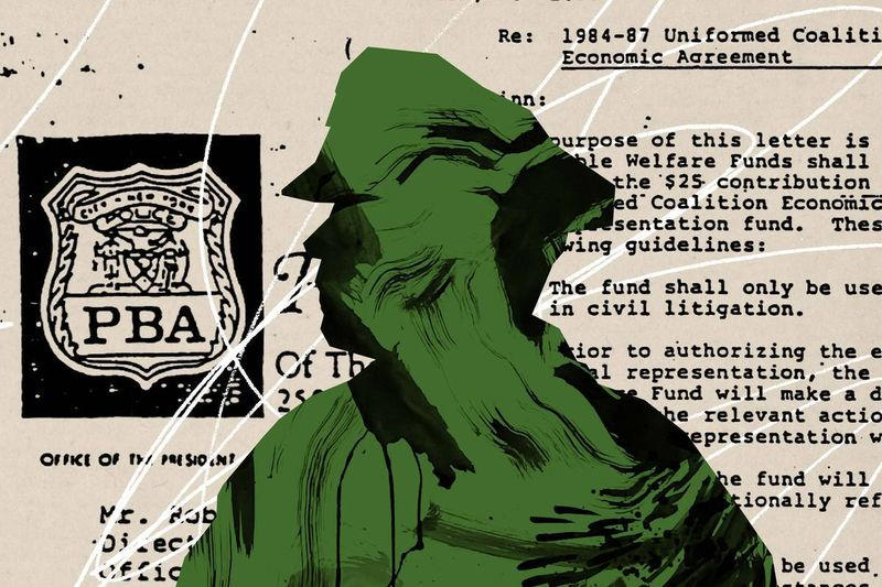 A green silhouette of a police officer in front of a typewritten document with the Police Benevolent Association logo.
