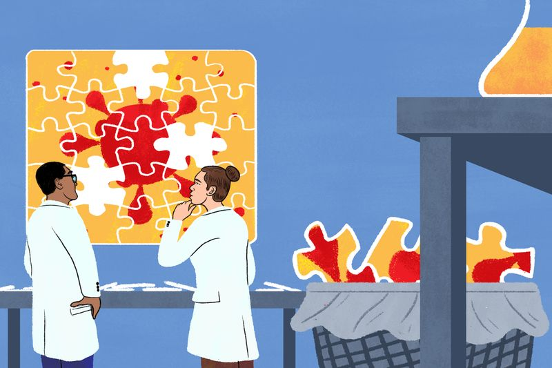 Two people in lab coats pondering an incomplete puzzle featuring an outline of a virus. Behind them, the missing puzzle pieces are in a wastebasket.