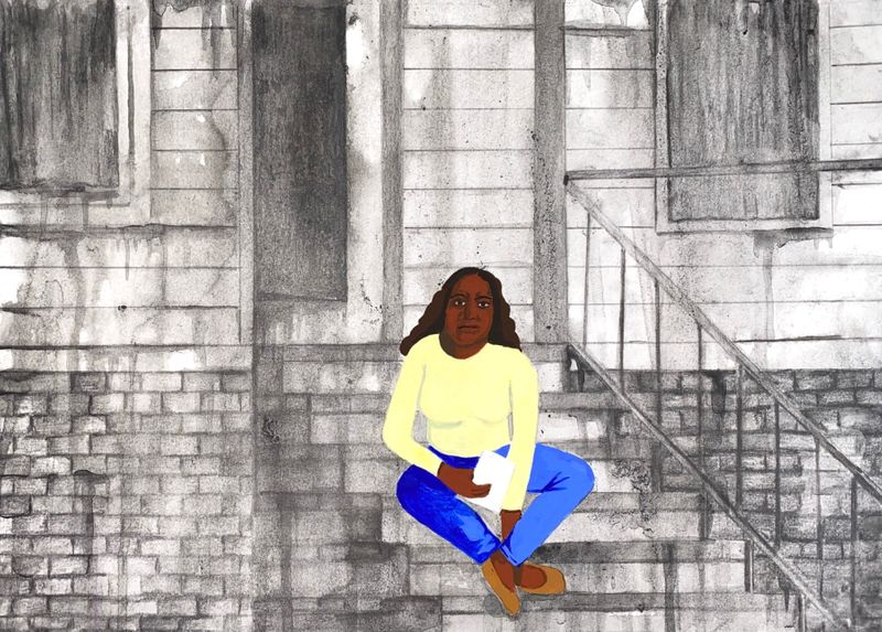 An illustration of a Black woman sitting on her stoop, clutching a piece of paper.