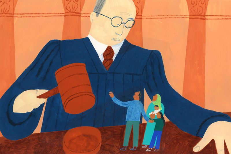 An illustration of a larger-than-life judge holding a gavel over a small family.