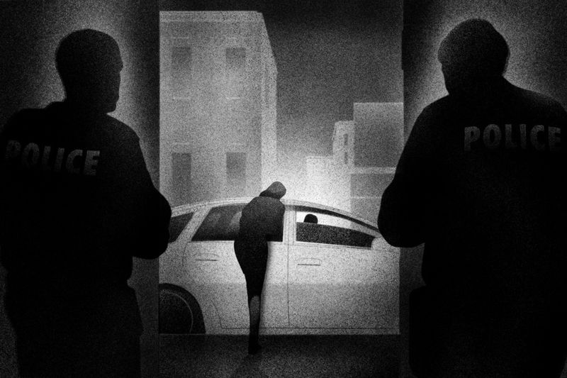 A black-and-white illustration of two police officers watching a woman lean over a car.