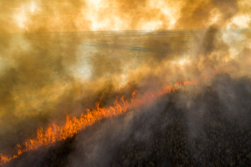 A line of fire cuts across a field. The whole image is heavily obscured by smoke.