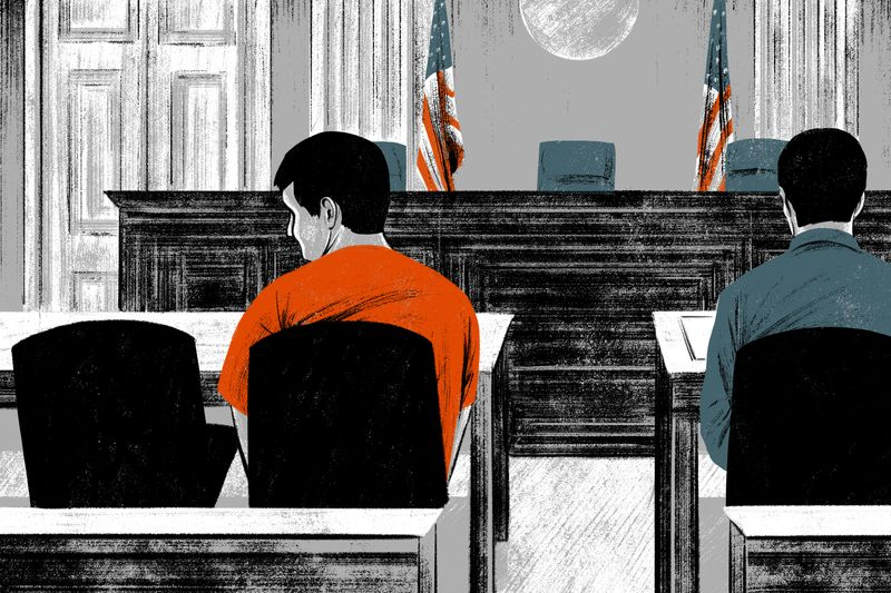 An illustration of a courtroom where a defendant dressed in orange sits at a table and looks at an empty seat beside him.