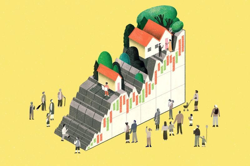 People stand by a hill made of a rising line graph, with houses on top of it.